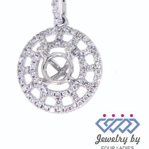 Solid 18K White Gold Diamond Semi Mount Pendant